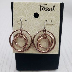 Fossil Rose Gold Tone Three Circle Dangle Earrings